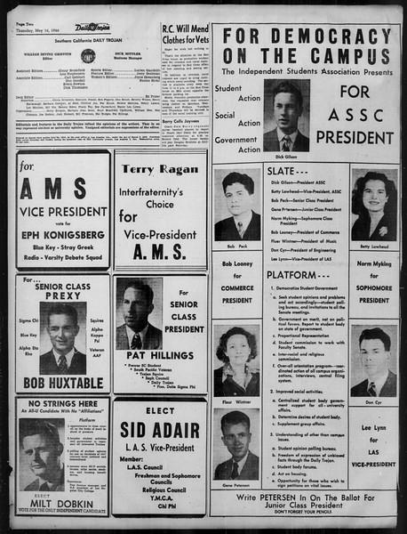 Daily Trojan, Vol. 37, No. 129, May 16, 1946