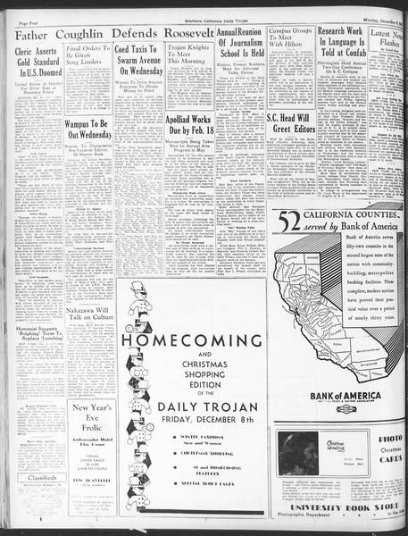 Daily Trojan, Vol. 25, No. 49, December 04, 1933