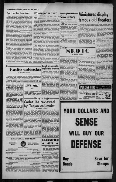 Daily Trojan, Vol. 34, No. 84, February 15, 1943