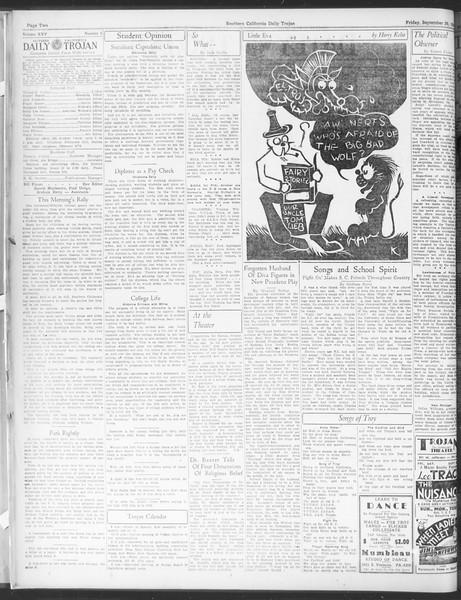 Daily Trojan, Vol. 25, No. 6, September 29, 1933