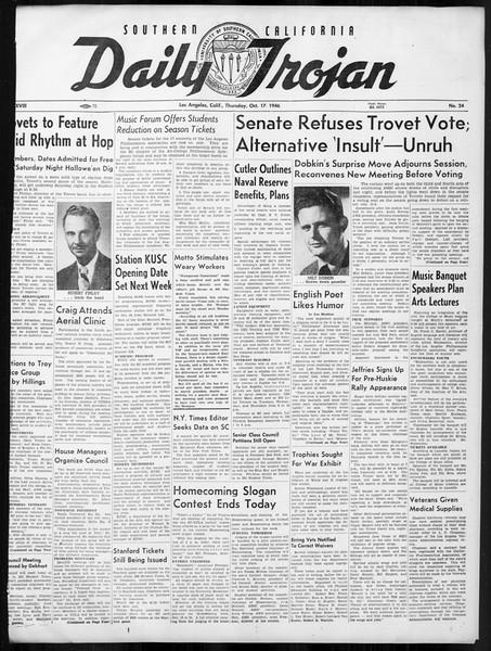 Daily Trojan, Vol. 38, No. 24, October 17, 1946