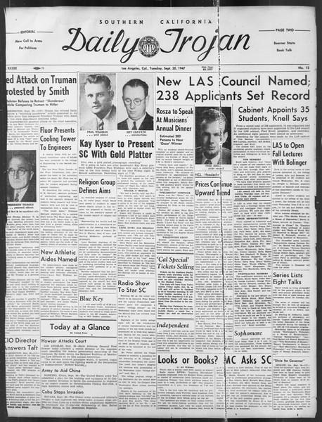 Daily Trojan, Vol. 39, No. 12, September 30, 1947