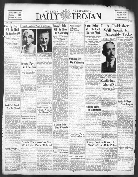 Daily Trojan, Vol. 24, No. 45, November 14, 1932
