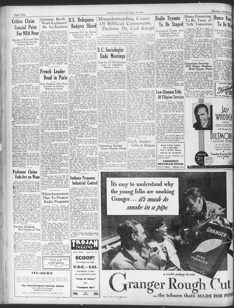 Daily Trojan, Vol. 25, No. 27, October 30, 1933