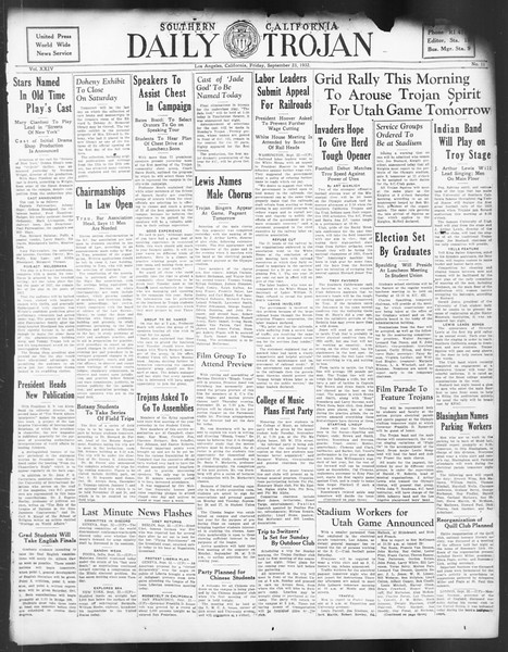 Daily Trojan, Vol. 24, No. 11, September 23, 1932