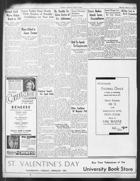 Daily Trojan, Vol. 24, No. 84, February 13, 1933