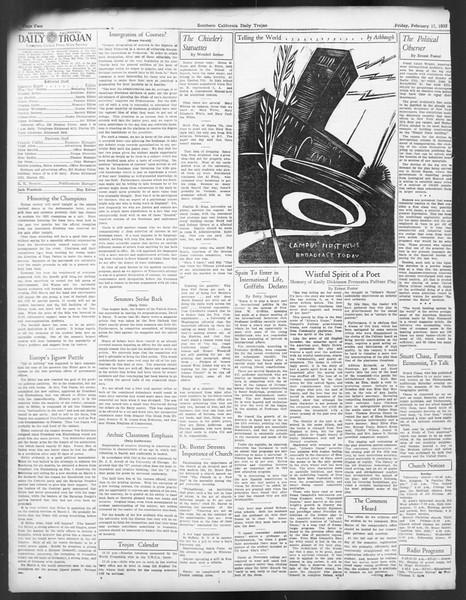 Daily Trojan, Vol. 24, No. 88, February 17, 1933