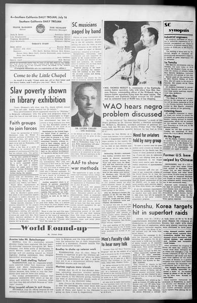 Daily Trojan, Vol. 36, No. 157, July 16, 1945