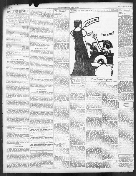 Daily Trojan, Vol. 24, No. 103, March 13, 1933