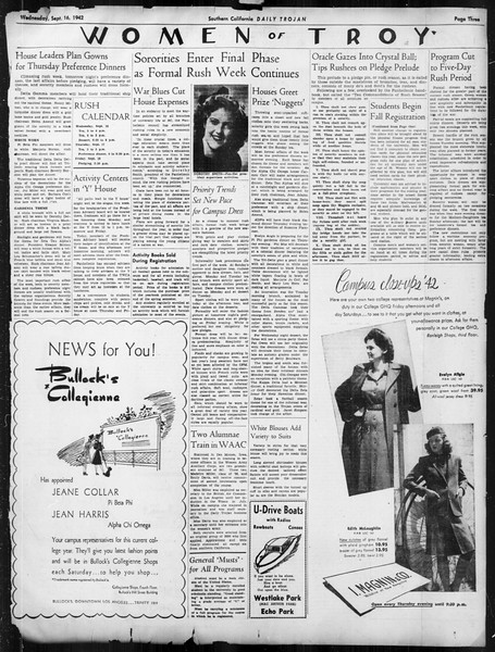 Daily Trojan, Vol. 34, No. 1, September 16, 1942