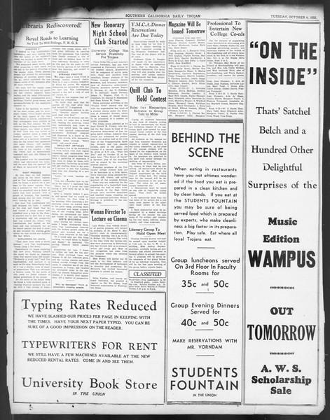 Daily Trojan, Vol. 24, No. 18, October 04, 1932