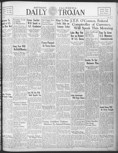 Daily Trojan, Vol. 25, No. 44, November 23, 1933