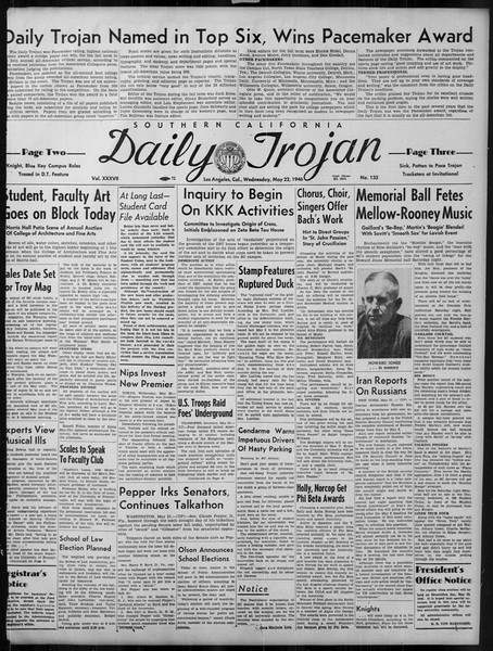 Daily Trojan, Vol. 37, No. 133, May 22, 1946