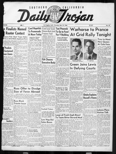 Daily Trojan, Vol. 38, No. 49, November 21, 1946