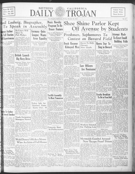 Daily Trojan, Vol. 25, No. 21, October 20, 1933