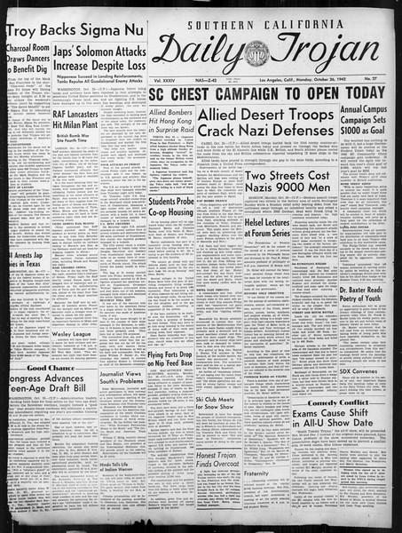 Daily Trojan, Vol. 34, No. 27, October 26, 1942