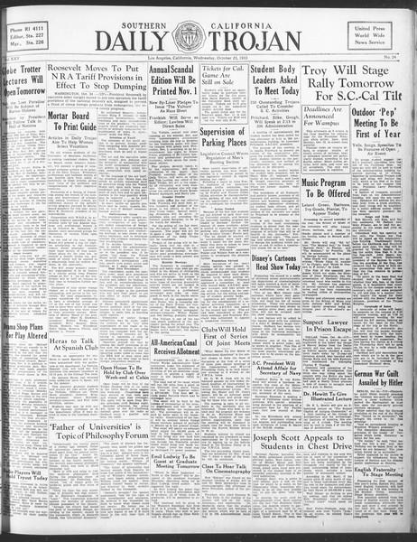 Daily Trojan, Vol. 25, No. 24, October 25, 1933