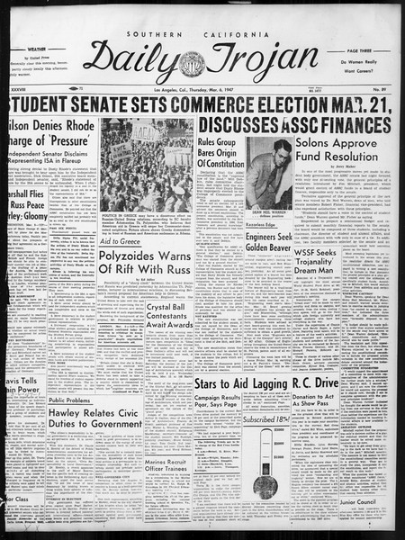Daily Trojan, Vol. 38, No. 89, March 06, 1947