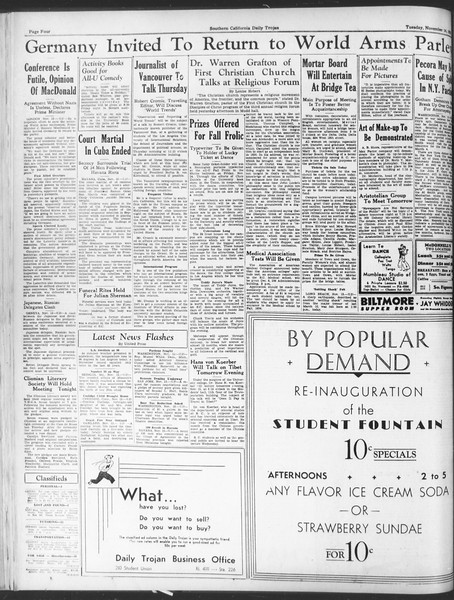 Daily Trojan, Vol. 25, No. 37, November 14, 1933