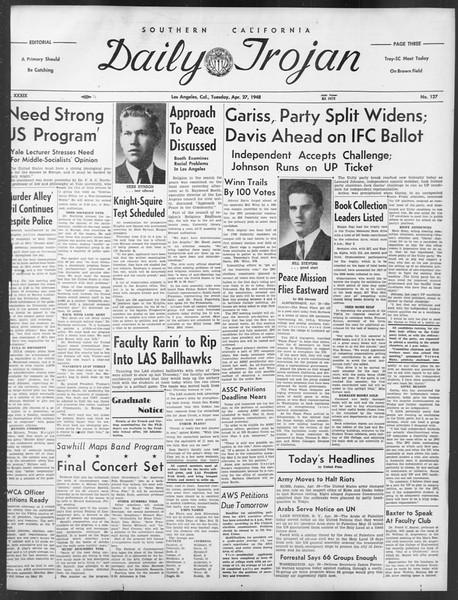 Daily Trojan, Vol. 39, No. 127, April 27, 1948