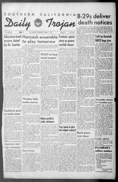 Daily Trojan, Vol. 36, No. 169, August 01, 1945