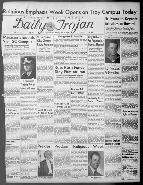 Daily Trojan, Vol. 37, No. 96, April 01, 1946