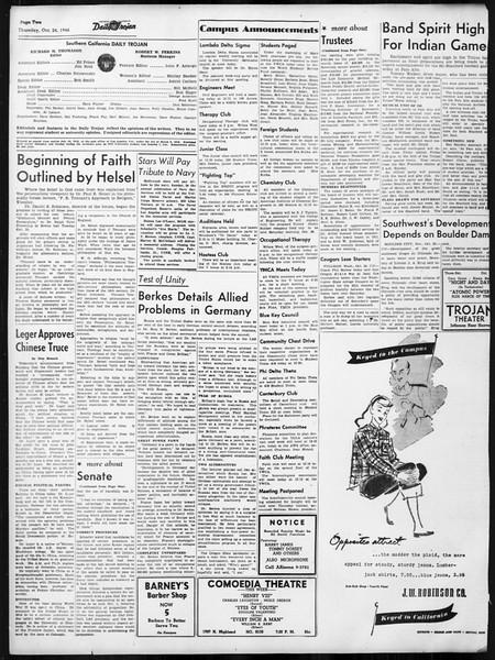 Daily Trojan, Vol. 38, No. 29, October 24, 1946