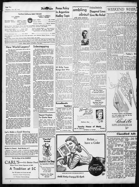 Daily Trojan, Vol. 38, No. 119, April 22, 1947