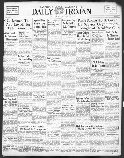 Daily Trojan, Vol. 24, No. 107, March 17, 1933
