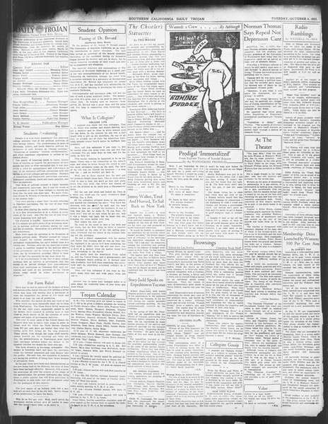 Daily Trojan, Vol. 24, No. 18, October 04, 1932