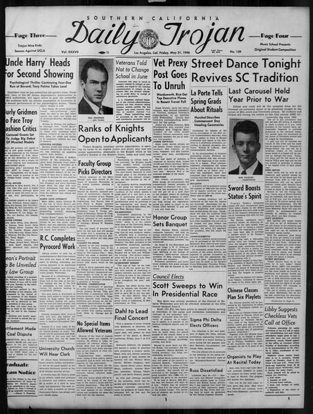 Daily Trojan, Vol. 37, No. 139, May 31, 1946