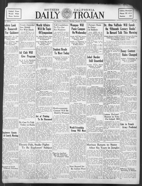 Daily Trojan, Vol. 24, No. 72, January 16, 1933