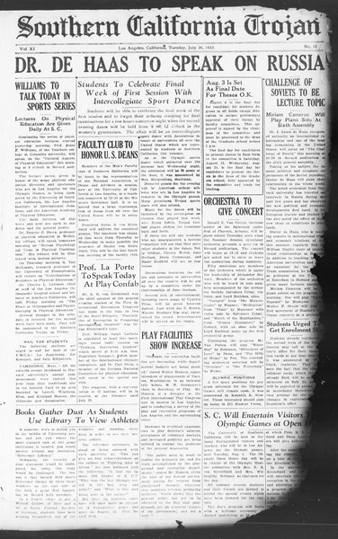 Southern California Trojan, Vol. 11, No. 11, July 26, 1932