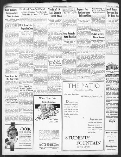 Daily Trojan, Vol. 24, No. 124, April 17, 1933