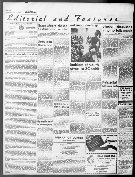 Daily Trojan, Vol. 37, No. 50, January 16, 1946