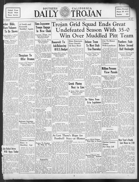 Daily Trojan, Vol. 24, No. 63, January 03, 1933