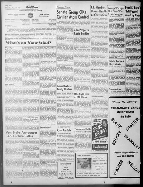Daily Trojan, Vol. 37, No. 104, April 11, 1946