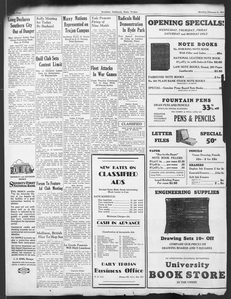 Daily Trojan, Vol. 24, No. 79, February 06, 1933