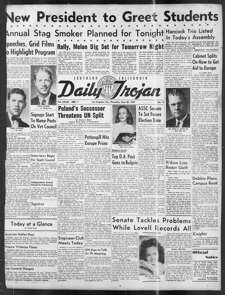 Daily Trojan, Vol. 39, No. 9, September 25, 1947