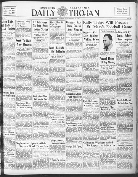 Daily Trojan, Vol. 25, No. 16, October 13, 1933