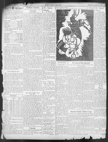 Daily Trojan, Vol. 24, No. 74, January 18, 1933