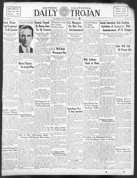 Daily Trojan, Vol. 24, No. 90, February 21, 1933