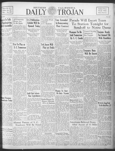 Daily Trojan, Vol. 25, No. 42, November 21, 1933