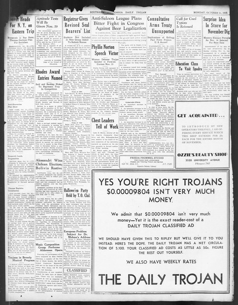 Daily Trojan, Vol. 24, No. 36, October 31, 1932