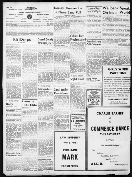 Daily Trojan, Vol. 38, No. 14, October 03, 1946