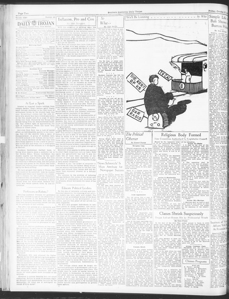 Daily Trojan, Vol. 25, No. 26, October 27, 1933