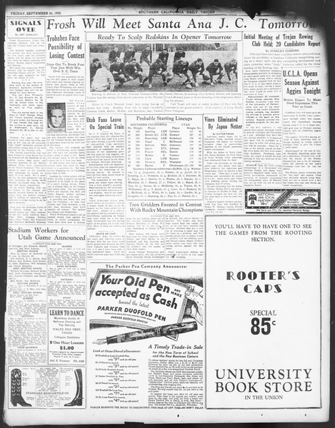 Daily Trojan, Vol. 24, No. 11, September 23, 1932