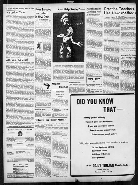 Daily Trojan, Vol. 34, No. 42, November 17, 1942
