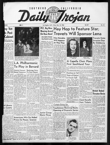 Daily Trojan, Vol. 38, No. 45, November 15, 1946
