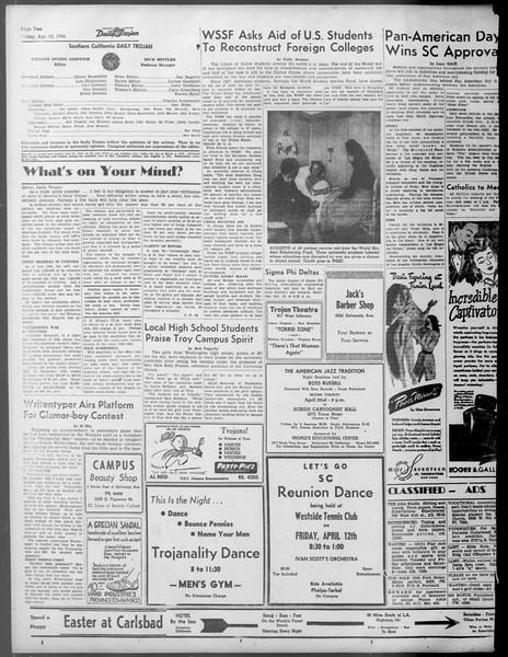 Daily Trojan, Vol. 37, No. 105, April 12, 1946